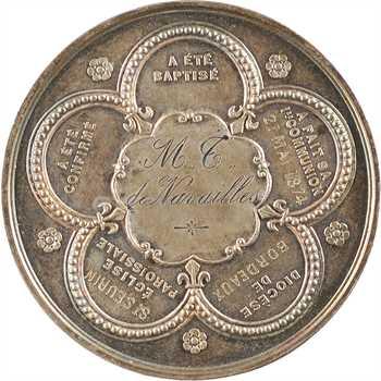 IIIe République, médaille du baptême à la confirmation de M. T. de Navailles, 1874 Paris