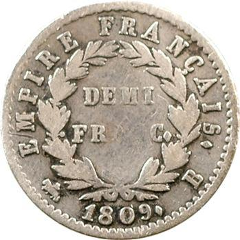 Premier Empire, demi-franc Empire, 1809 Rouen