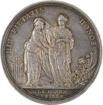 Directoire, prix de la bonne fille et du bon vieillard, par Gatteaux, transformée en médaille de mariage, 1795 Paris