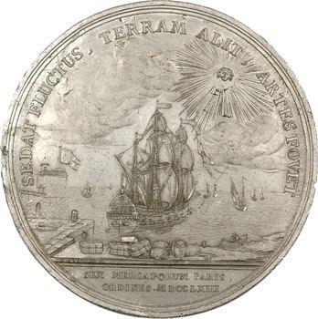 Louis XV, les six corps des marchands de Paris, cliché uniface de Duvivier, 1763