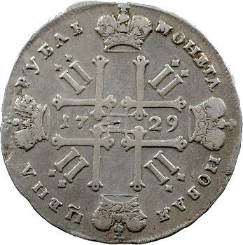 Russie, Pierre II, rouble, 1729 Moscou