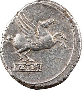Titia, denier, Rome, 90 av. J.-C.