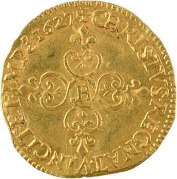 Louis XIII, écu d'or au soleil, sans point, 1627 Rouen