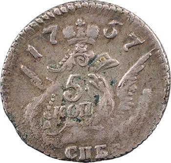Russie, Élisabeth Ire, 5 kopecks, 1757 Saint-Pétersbourg