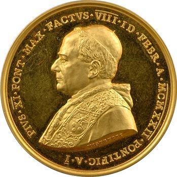 Vatican, Pie XI, médaille annuelle en or par Mistruzzi, tricentenaire de la Sainte Congrégation pour la Propagation de la Foi, 1922