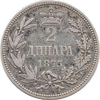 Yougoslavie, Serbie (royaume de), Milan IV comme prince, 2 dinara, 1875 Vienne
