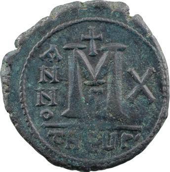 Maurice Tibère, follis, Théoupolis (Antioche), 3e officine, An X = 591-592