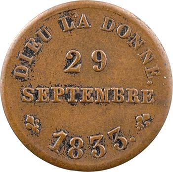 Henri V, médaillette, module du demi-franc, majorité du Roi, 29 septembre 1833