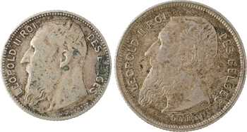 Belgique, Léopold II, lot de 1 et 2 francs, 1909
