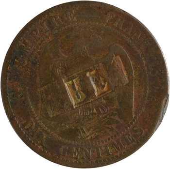Second Empire, dix centimes tête nue, 1853 Paris, surfrappe RF