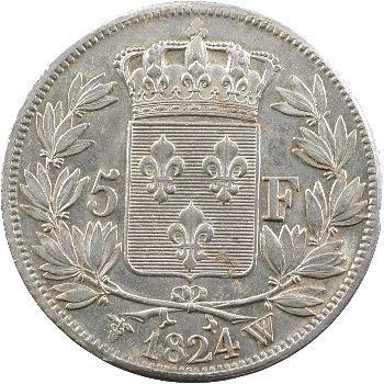 Louis XVIII, 5 francs buste nu, 1824 Lille