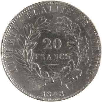 IIe République, concours de 20 francs or par Merley, en étain, 1848 Paris