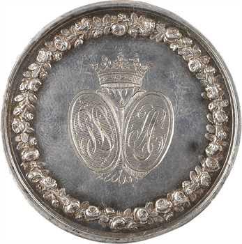 Louis XVIII, médaille de mariage en argent, par Andrieu, 1821 Paris
