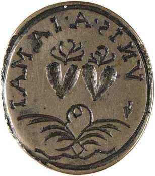 Ancien Régime, cachet à motif denier à épouser VNIS A JAMAIS, s.d