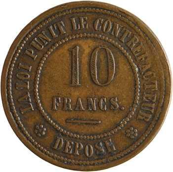 IIIe République, 10 francs contre-monnaie, frappe monnaie, 1873 Paris