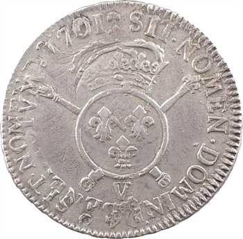 Louis XIV, écu aux insignes, 1701 Troyes