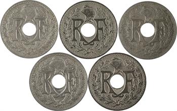 IIIe République, lot de cinq pièces de 25 centimes Lindauer, 1914-1915 Paris