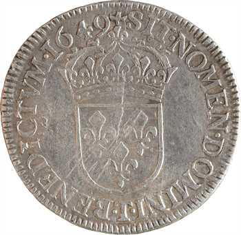 Louis XIV, demi-écu à la mèche longue, 1649 Nantes