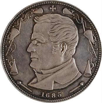 IIIe République, essai de 5 francs Thiers en argent, 1872 Bruxelles (Würden), tranche lisse