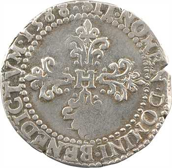 Henri III, demi-franc au col plat, 1588 Rouen