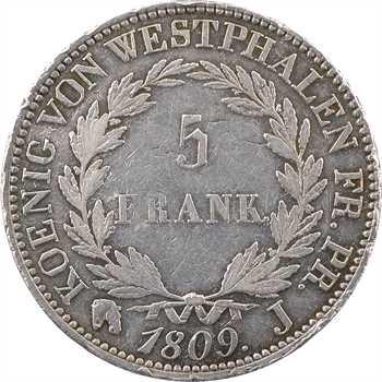 Allemagne, Westphalie (royaume de), Jérôme Napoléon, 5 franken, 1809 Paris (J) frappe médaille