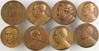 IIIe République, lot de 8 médailles de mandats de conseillers municipaux, par Cochet, Cogné, Deschamps, Peter, Pillet, etc., 1916-1939 Paris