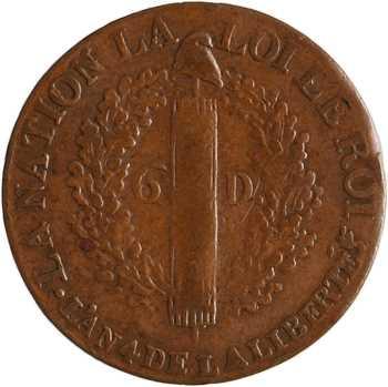 Constitution, 6 deniers FRANÇOIS, An 4, 1792 Marseille