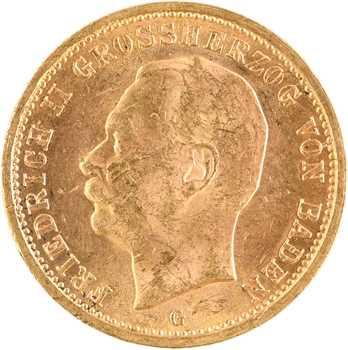 Allemagne, Bade (Grand-duché de), Frédéric II, 20 mark, 1914 Karlsruhe