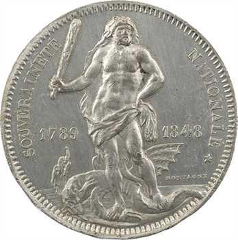 IIe République, module de 5 francs, concours de Montagny à l'Hercule, 1848 Paris