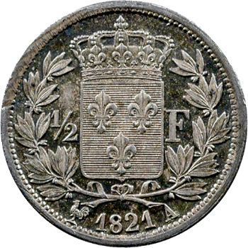 Louis XVIII, 1/2 franc, 1821 Paris