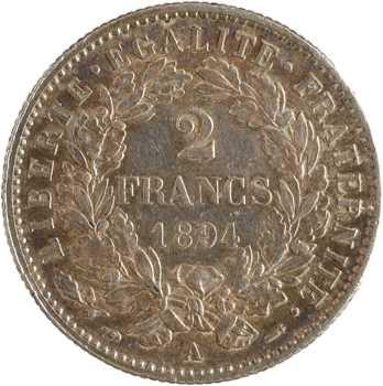 IIIe République, 2 francs Cérès, 1894 Paris