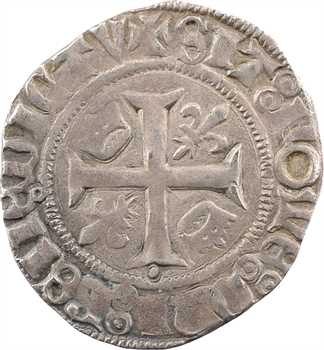 Duc de Bourgogne (au nom de Charles VI), blanc guénar 2e émission (O ronds), mai à octobre 1418, Troyes