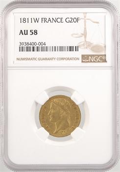 Premier Empire, 20 francs Empire, 1811 Lille, NGC AU58