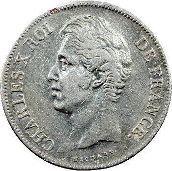 Charles X, 5 francs 2e type, 1828 Strasbourg