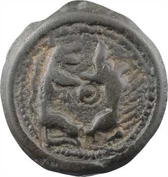 Suessions, potin aux animaux affrontés, classe I épigraphique, c.60-50 av. J.-C.