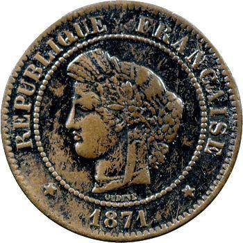 IIIe République, 5 centimes Cérès, 1871 Bordeaux