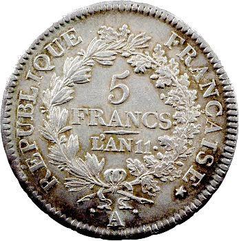 Consulat, 5 francs Union et Force, An 11 Paris
