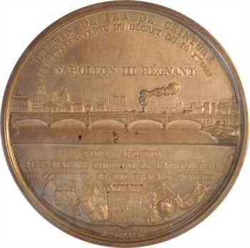 Second Empire, construction de Chemin du fer de ceinture, à Paris, 1854 Paris, PCGS SP63