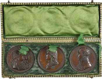 Restauration (sous Louis XVIII), coffret de 3 médailles sur les défunts Bourbons, s.d. (c.1820) Paris