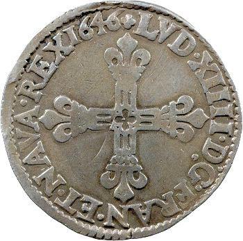 Louis XIV, Quart d'écu 1er type, 1646 Saint-Lô