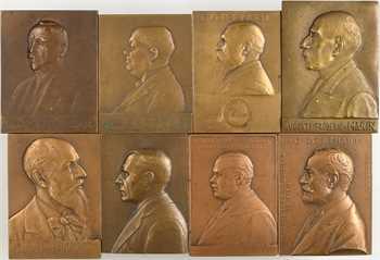 IIIe République, lot de 8 plaques de mandats de conseillers municipaux, par Baudichon, Dropsy, Pillet, Prud'homme, etc., 1915-1934 Paris