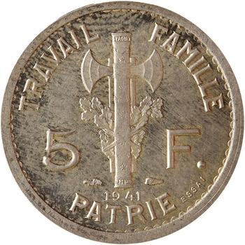 État français, essai uniface de 5 francs Pétain type II en argent, tranche lisse, 1941 Paris