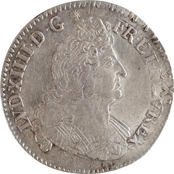 Louis XIV, demi-écu aux huit L, 2e type, tranche lisse, 1704 Rouen