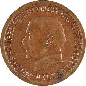 État français, essai de 5 francs Pétain type III en cuivre, 1941 Paris