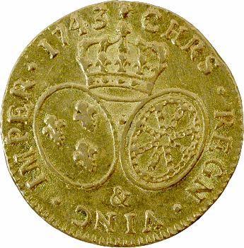 Louis XV, louis d'or au bandeau, 1743 Aix-en-Provence