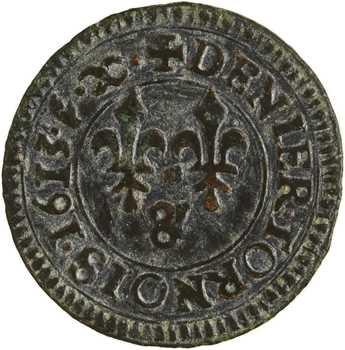 Louis XIII, denier tournois, 1613 Aix-en-Provence variété TORNOIS