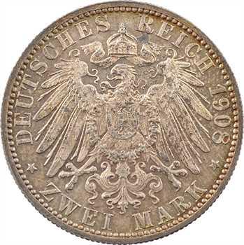 Allemagne, Wurtemberg (royaume de), Guillaume II, 2 mark, 1908 Stuttgart