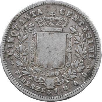 Italie, Savoie-Sardaigne, Victor-Emmanuel II, 50 centimes, 1860 Florence