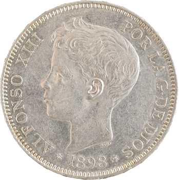 Espagne, Alphonse XIII, 5 pesetas, 1898 (18 – 98) Madrid