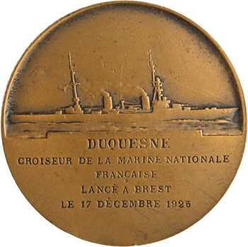 Morlon (A.) : lancement du croiseur Duquesne, d'après Domard, 1925 Paris